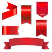 Red Web Ribbons Set — Stock Vector