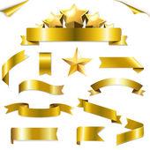 Set Gold Ribbons And Stars — Stock Vector