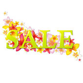 Sale Poster With Flowers — Stock Vector