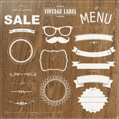 Set Of Vintage Badges With Wood Background — Stock Vector