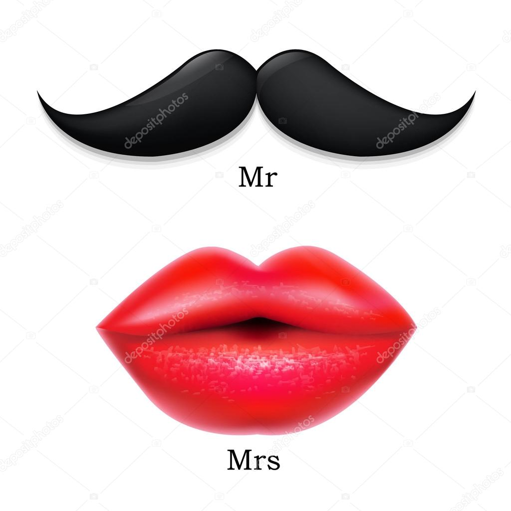 Download - Moustaches With Lips — Stock Illustration #32029783