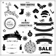 Set Of Vintage Black Christmas Symbols And Ribbons — Stock Vector