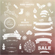 Set Of Vintage Christmas Symbols And Ribbons — Stock Vector