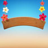 Cartel de madera con frangipani — Vector de stock