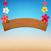 Wooden Sign With Frangipani — Stok Vektör