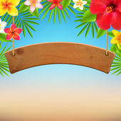 Wooden Sign With Tropical Flowers — Stok Vektör
