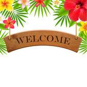 Muestra de madera banner de bienvenida — Vector de stock
