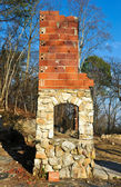 Old Stone Fireplace — Stock Photo
