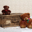 Old basket and two teddy bears — Stock Photo #28970755