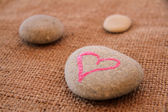 Pebble and heart with handwritten text — Stock Photo