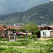 Illegal settlement of ethnic Gypsies Romani population — Stock Photo