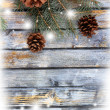 Christmas fir tree with pinecones on a wooden board — ストック写真