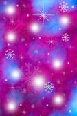 Winter abstract background with bokeh lights, snowflakes and sta — Stock fotografie
