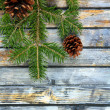 Christmas fir tree with pinecones on a wooden board — Stock Photo