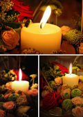Candle and flowers — Stok fotoğraf