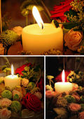 Candle and flowers — Stock Photo