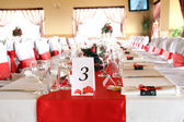 Tables decorated for a party or wedding reception — Stockfoto