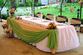 Tables decorated for a party or wedding reception — Stock Photo