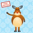 Stock Vector: Card with cheerful deer