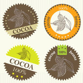 Cocoa beans labels — Stock Vector