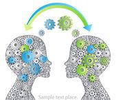 Idea for your head data exchange — Stock Vector