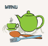 Menu for cafe, restaurant with green teapot. — Stock Vector