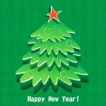New Year green tree — Stock Vector