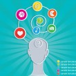 Social symbol of person in mass media network. Infographic. — Imagen vectorial