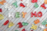 Sweet letters hey ho — Stock Photo