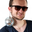 Funny guy with little mirror ball — Stock Photo