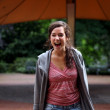 Girl laughing out loud - Stockfoto