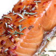 Noble salmon filet with herbs — Stock Photo