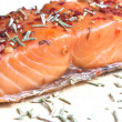 Noble salmon fillet with herbs — Stock Photo