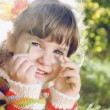 Little Girl Outdoors on Sunny Day — Stock Photo