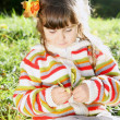 Little Girl Outdoors on Autumn Sunny Day — Stock Photo