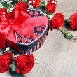 Valentine Gift and Roses - Stock Photo