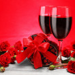 Valentine Gift, Red Wine and Roses - Stock Photo