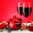Valentine Gift Heart Shape with Wine and Roses - Stock Photo