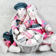 Two Easter Handmade Bunnies with Decorated Eggs — Stock Photo #22253299