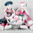 Easter Handmade Bunnies with Decorated Eggs - Stock Photo