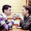 Young Lovers Drinking Coffee Romantic Shot — Stock Photo