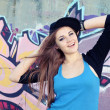 Cheerful Teenager Young Woman against Wall — Stock Photo