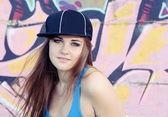 Retrato de mujer joven hermosa adolescente cara — Foto de Stock