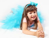 Laughing Little Girl Laying — Stock Photo