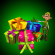 Elf With Lots Of Presents — Stock Photo