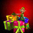Santas Elf With Presents — Stock Photo