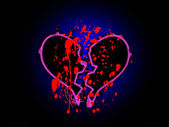 Blood Stained Broken Heart — Stock Photo