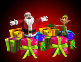 Father Christmas With Elf And Presents — Stock Photo