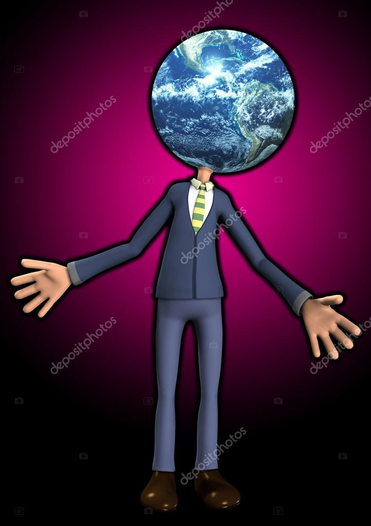Person with the Earth for his head.  Stock Photo #12198169