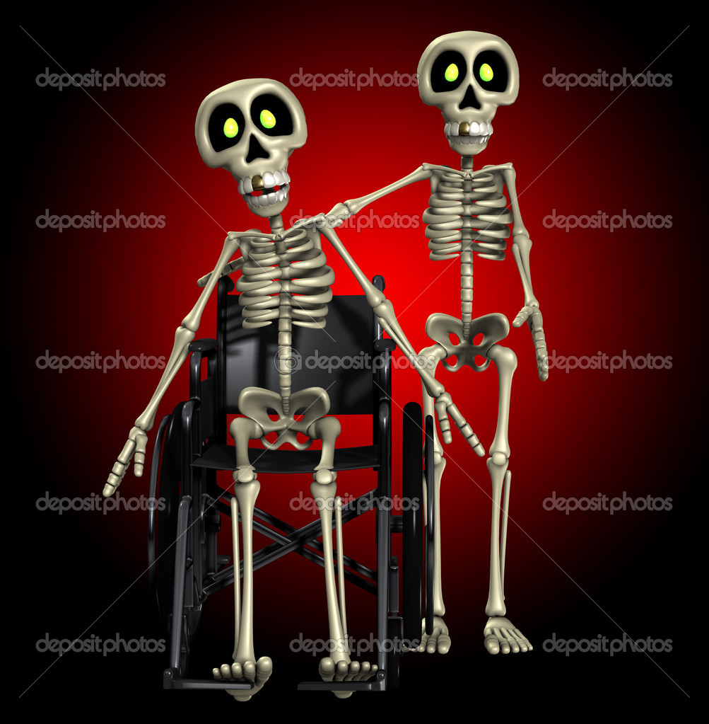 A well skeleton helping out one that is disabled. — Foto de Stock   #12198303